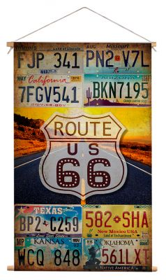 Wanddoek - Route 66 license plates