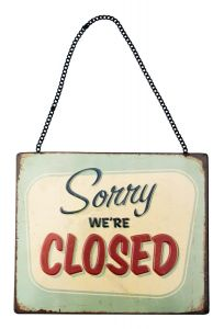 Sorry We Are Closed - green retro