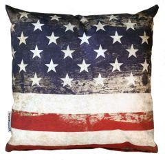 Kussen - USA vlag - grunge