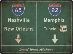US-Traffic Sign - Nashville-Memphis - grunge
