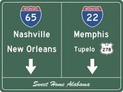 US-Traffic Sign - Nashville-Memphis