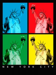 New York - Statue of Liberty - 4 colors
