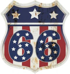 Shield - Route 66 Red White Blue Stars