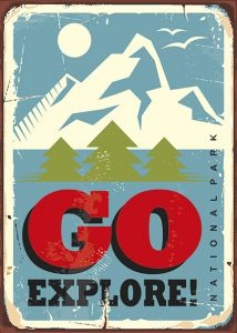 Retro-Sign - Adventure - Go Explore