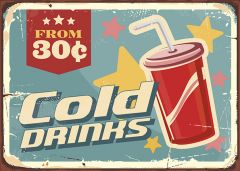 Retro-Sign - American Diner - Cold Drinks