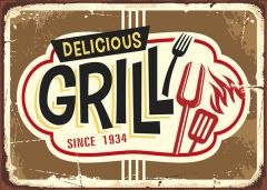 Retro-Sign - BBQ and Grill - Grill