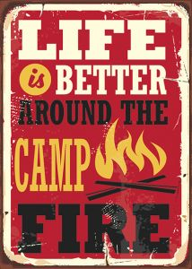 Retro-Sign - Adventure - Camp Fire