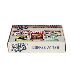 COFFEE-TEA Retro Box - set van 5 signs