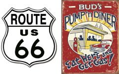 Route 66 Shield + Pump 'n Diner - Set van 2 Signs