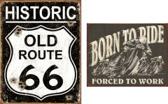 Old Route 66 + Born to Ride - Set van 2 Signs