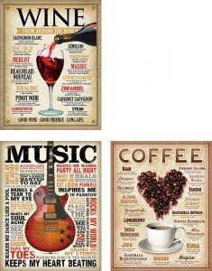 Wine l Coffee l Music - Set van 3 Signs