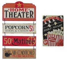 Home Cinema and Popcorn - Set van 2 Signs