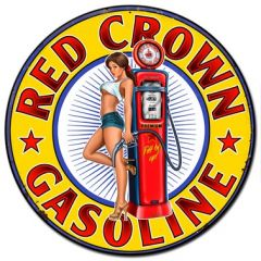 Red Crown Gasoline Pin Up - round