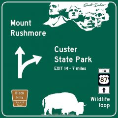 Traffic Road Sign - Mount Rushmore