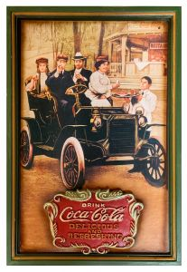 Coca-Cola - wood - People in Old Car