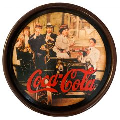 Coca-Cola - wood - Rond - People in Old Car